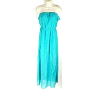 Trixxi Teal Strapless Sleeveless Beach Dress